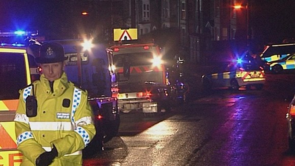 Emergency workers at the scene of the hit and run in Bristol.