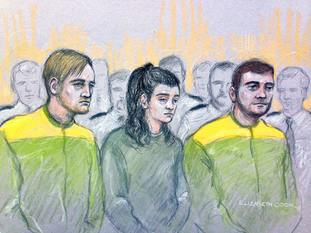 File court artist sketch by Elizabeth Cook dated 15/12/17 of Zak Bolland, Courtney Brierley and David Worrall