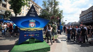 Fans gather in Kiev where Liverpool will play Real Madrid in the UEFA Champions League Final