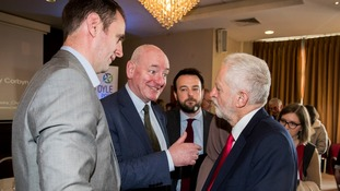 The SDLP's Mark H Durkan, Mark Durkan and Colum Eastwood with Jeremy Corbyn in Derry
