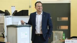 Irish Prime Minister Leo Varadkar casts his vote.