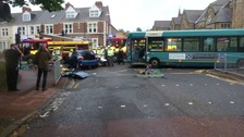 Driver cut out of car after bus crash at Gateshead junction