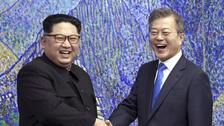 North Korean leader Kim Jong Un with South Korean President Moon