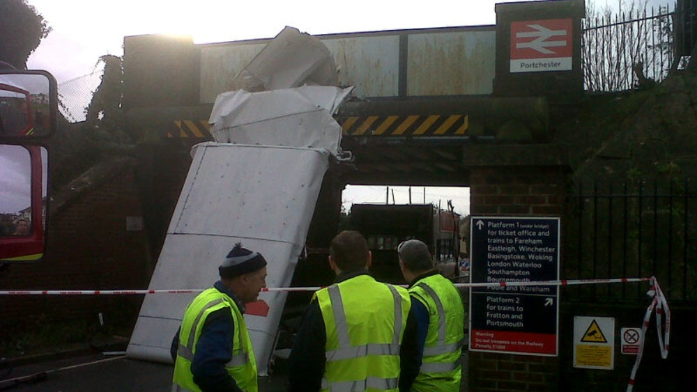 Bus Hits Railway Bridge At Portchester Top Shorn Off