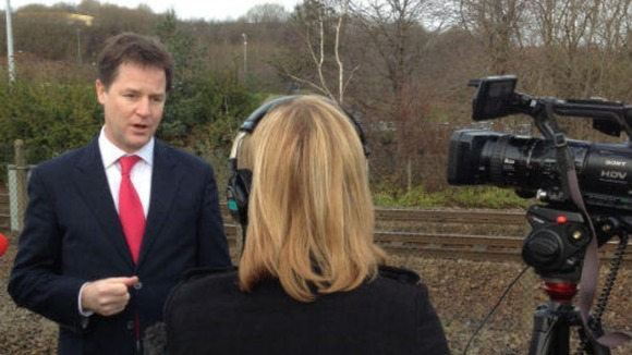 Nick Clegg speaking at the site of the proposed new station at the giant Meadowhall Shopping Centre