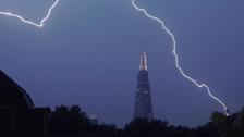 UK hit by 'spectacular' lightning strikes as thunderstorms roll in