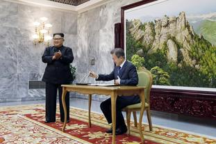North Korean leader Kim Jong-un and South Korean President Moon Jae-in are in talks.