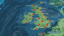 Very warm and humid day with temperatures up to 29C