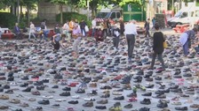 A campaign group has said each shoe is supposed to represent a Palestinian life lost.