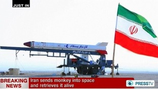 Press TV photo of the Pishgam rocket, 'Pioneer' in Farsi, preparing for launch