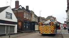A fire engine outside the old Fate club in Rushden.