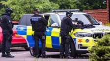 Armed police outside the home in Clark Drive, St Ives.