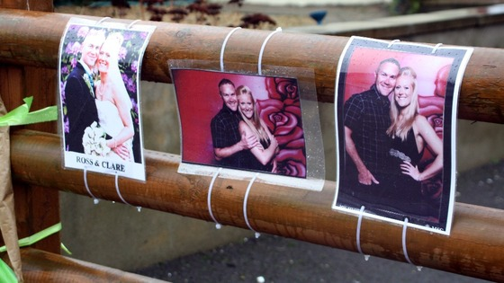Pictures left at the scene in Hanham, near Bristol, in tribute to Ross and Clare Simons, who were killed yesterday