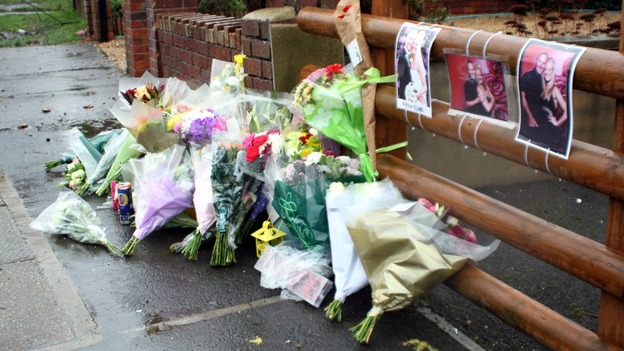 Flowers left at the scene in Hanham, near Bristol, in tribute to Ross and Clare Simons, who were killed yesterday
