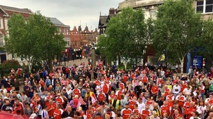Rotherham fans in All Saints Square