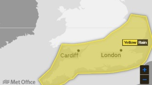 Area covered by a yellow weather warning in force until 6am on Wednesday 30 May 2018.