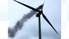 The wind turbine on fire in Doddington.