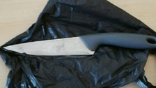 The knife was hidden under woodchips before it was found by the child