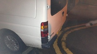 van, yellow lines, parking