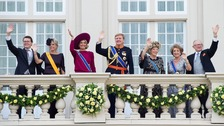 The Dutch royal family after Queen Beatrix (third from right) opened Parliament