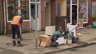 The clean-up operation underway after flooding in Northampton.