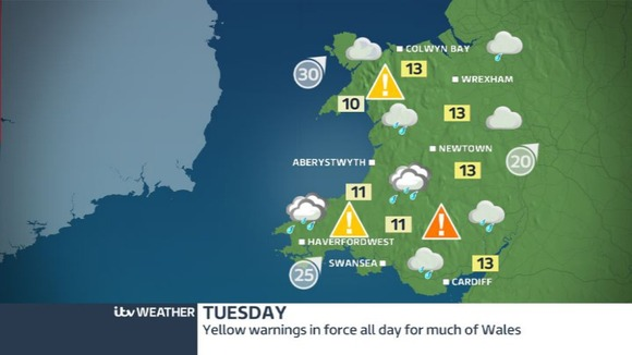 Anticipated rain has seen an amber warning issued in south Wales