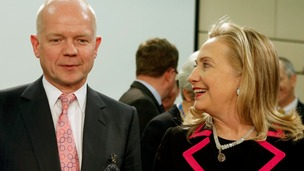 Foreign Secretary William Hague and US Secretary of State Hillary Clinton in Brussels in December 2012
