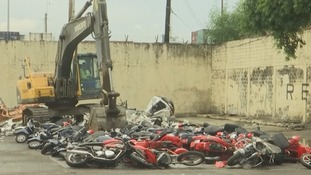 Over a hundred luxury smuggled motorbikes destroyed in Philippines
