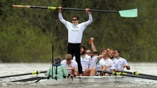 Cambridge's Alexander Scharp celebrates in the 158th Boat Race