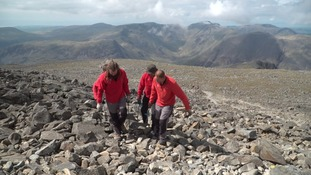 The huge operation involved ten National Trust rangers hand carrying each piece of material up 977 metres.