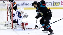 Tyler Beskorowany in action for the Edinburgh Capitals against his new Belfast Giants team