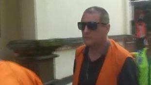 Julian Ponder arrives at court in Bali.