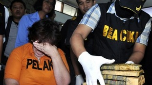 Lindsay Sandiford is seen at a news conference at the Customs Office at Ngurah Rai International Airport