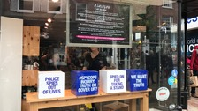The #SpyCops campaign at Lush's store in Norwich