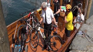 cyclists on boat