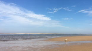Blue skies over the beach at Brancaster in Norfolk on 21 May 2018.