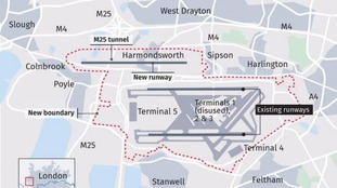 The proposed new boundary of Heathrow.