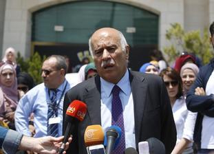 Jibril Rajoub speaks at a press conference in front of the Argentinian representative office in the West Bank city of Ramallah.