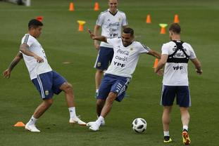The Argentina squad in training in Barcelona.