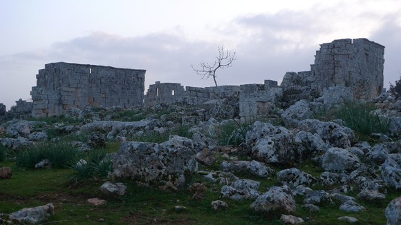 The ruins are now home to many refugees hiding from the fighting