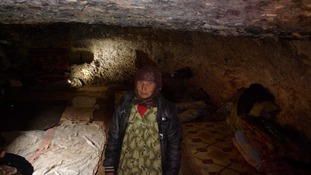 Syrians old and young have been left sleeping in caves