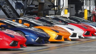 Lamborghini LP 700-4 Roadsters displayed after a high-speed demonstration