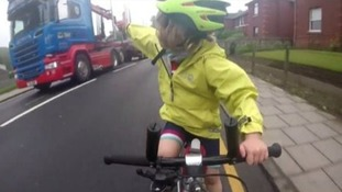 Four-year-old cyclist filmed giving thumbs up to lorry driver gets special message from Paddington Bear