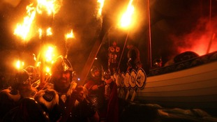 The event is known as the Up Helly Aa Viking fire festival