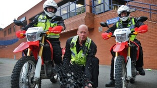 Police with their new equipment for tackling nuisance motorcycling.