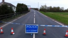 Police roadblock on A614