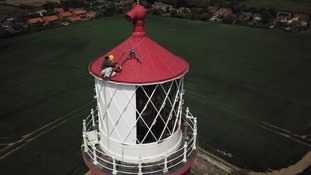 It will take a fortnight to paint the iconic Happisburgh lighthouse in Norfolk.