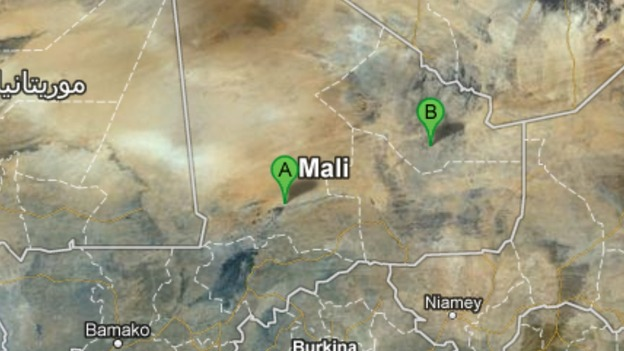 Kidal (point B) is a strategic centre north of Timbuktu, (point A)