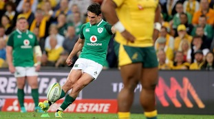 Ireland's Joey Carbery in action against Australia