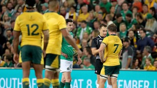 Australia had a try disallowed by referee Marius van der Westhuizen